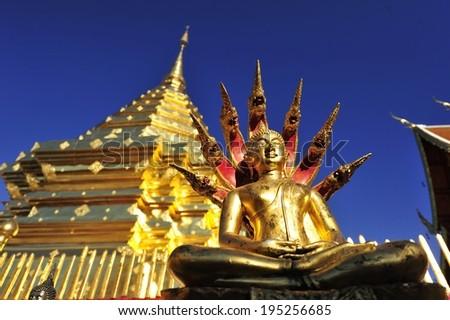 Golden Buddha in thailand - stock photo