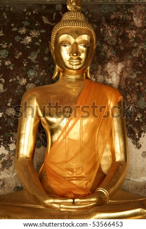 golden buddha in wat suthat buddhist temple in bangkoks old city thailand