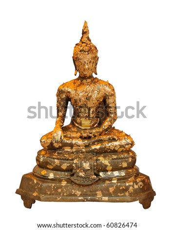 golden buddha sitting - stock photo