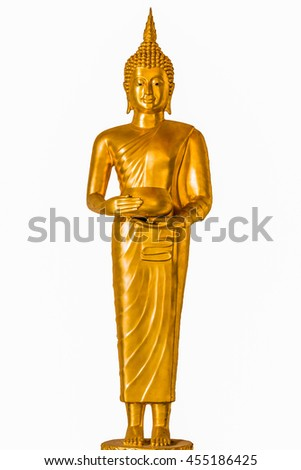 Golden Buddha standing on white Background.