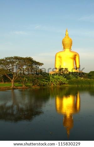 Golden Buddha statue at Wat Muang in Angthong, Thailand - stock photo