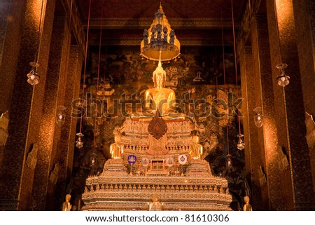 golden buddha statue image - stock photo