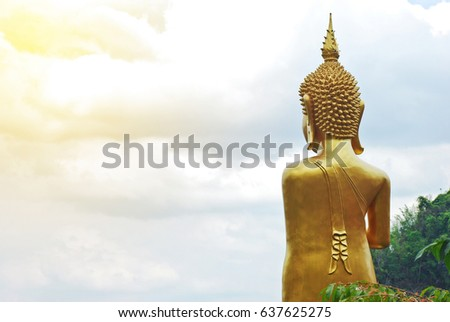 Golden buddha statue in Thai temple On high
