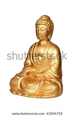 Golden Buddha statue isolated on white - stock photo