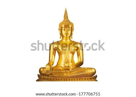 golden buddha statue isolated on white background ,thailand - stock photo