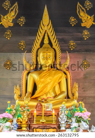 Golden Buddha statue of the buddhist temple in Thailand. They are public domain or treasure of Buddhism, no restrict in copy or use  - stock photo