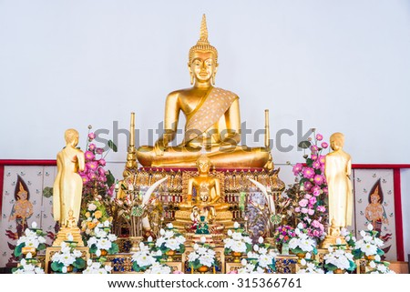 Golden Buddha Statue or Luang Phor Sri Sawan at Nakhonsawan Province, Thailand. - stock photo