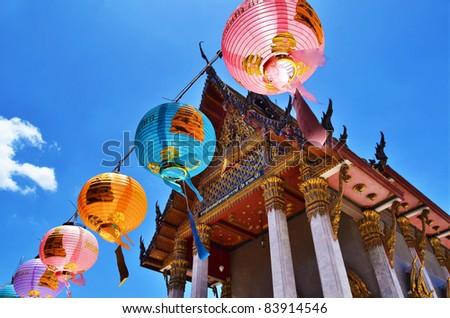 Golden Buddha temple on the blue sky , Asia , Thailand - stock photo