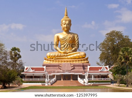golden Buddha Thailand.Big Buddha statue in the public temple. - stock photo