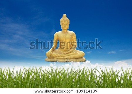 Golden Buddha with abstract background. - stock photo