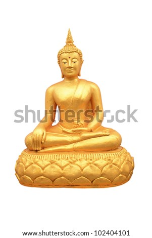 Golden Buddha with Isolated on white background