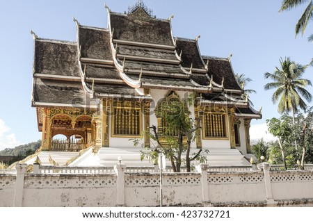 Golden Buddhist Temple in Luang Prabang, Laos - stock photo