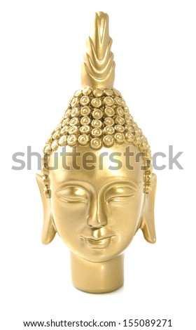 Golden budha head close-up isolated over white - stock photo