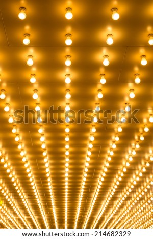 golden bulbs marquee lights background - stock photo