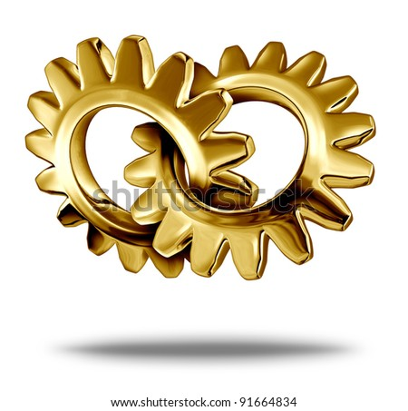 Golden business partnership concept with two gold metal gears or cogs connected together as a symbol of strategic corporate merger and  company teamwork. - stock photo