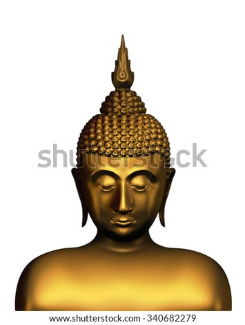 Golden bust of buddha isolated on a white background. Thailand
