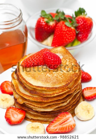 golden buttermilk pancakes - stock photo