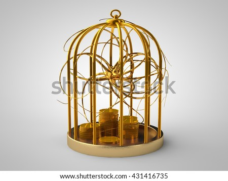 golden cage of gold coins and gold fever virus, on a white background, 3D rendering - stock photo