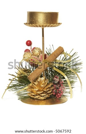 golden candlestick with Christmas decoration - stock photo