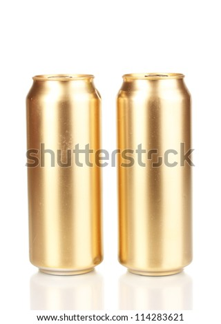 golden cans isolated on white