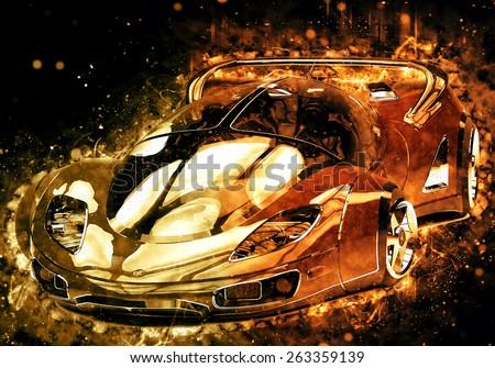 golden car - stock photo