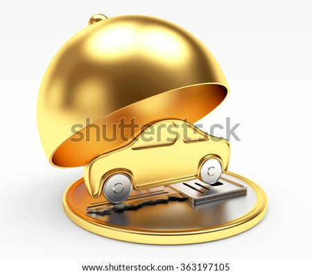 Golden car on tray with open lid isolated on white background  - stock photo