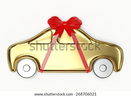 Golden car with red ribbon and bow isolated on white background - stock photo