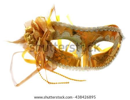 Golden carnival Mask, flower of taffeta - stock photo