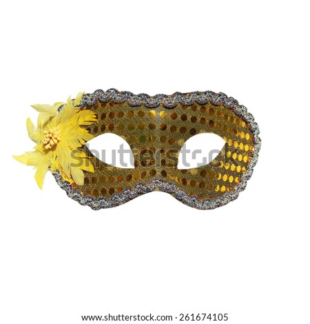 Golden carnival mask isolated on a white background - stock photo
