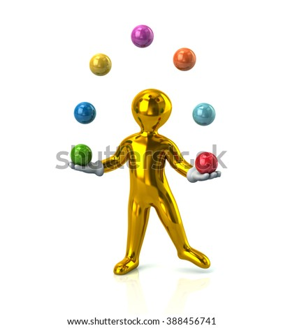 Golden cartoon man juggles with a balls isolated on white background