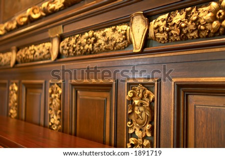 Golden carving & relief in the governor's office. More with keyword Series002
