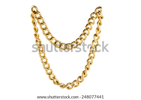 Golden chain of twisted rings. Isolated on white - stock photo