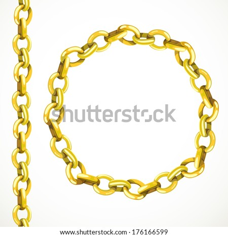 Golden chain seamless line and closed in a circle - stock photo
