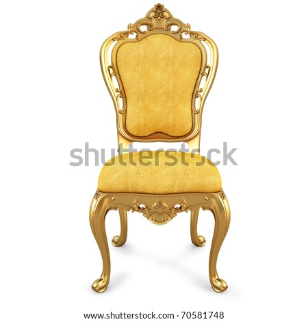 golden chair with yellow skin. isolated on white. with clipping path. - stock photo