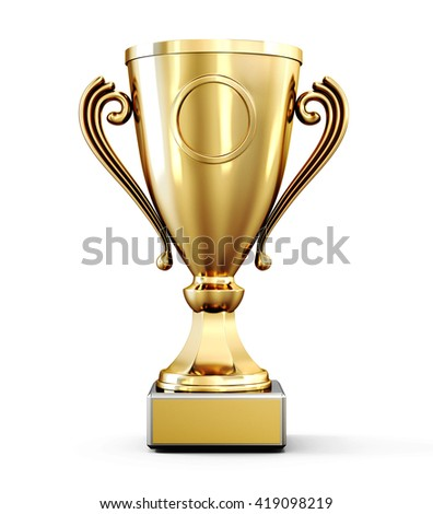 Golden champion Cup isolated on white background. Front view. 3d rendering.