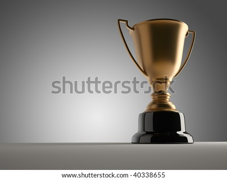 Golden champion cup sitting on a table - 3d render - stock photo