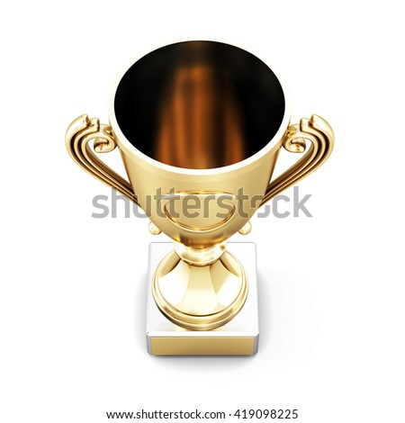 Golden champion Cup top view isolated on white background. 3d rendering. - stock photo