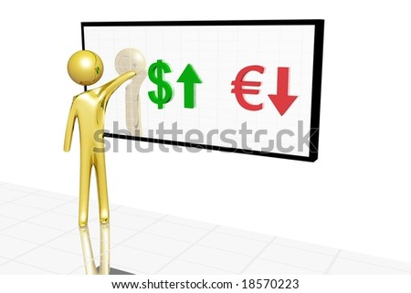 Golden character showing variation of currency value.