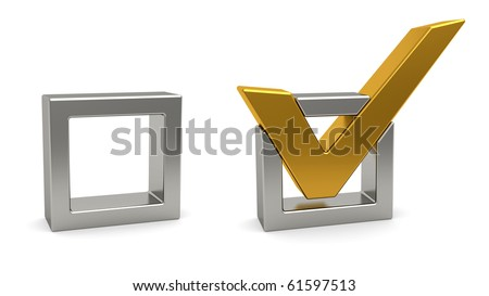 Golden check mark and silver check box on white background. High resolution 3D image - stock photo