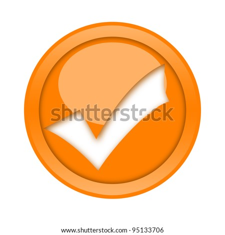 Golden check mark button - stock photo