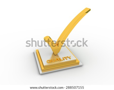 Golden check  mark icon in with QUALITY word - stock photo