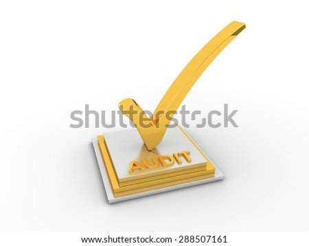 Golden check  mark icon on rectangles with AUDIT word - stock photo