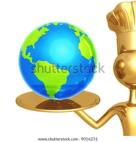 Golden Chef Serving The World - stock photo