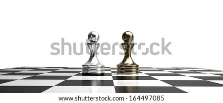 golden chess pawns isolated on white background High resolution 3d  - stock photo