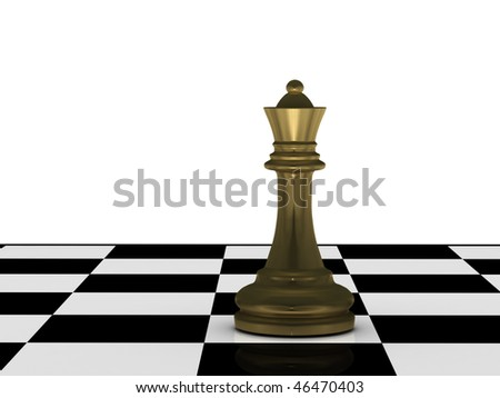 Golden chess queen on chessboard isolated on white background. High quality 3d render.