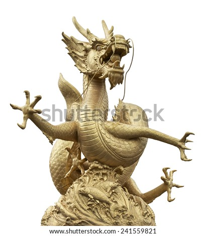 Golden Chinese dragon on isolate white background (Clipping path) - stock photo