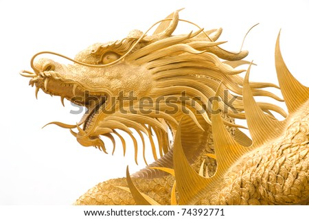 golden chinese dragon statue isolated on white background