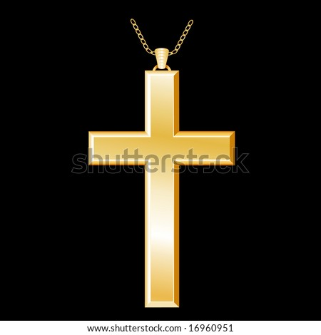 Golden Christian Cross and chain on a black background.