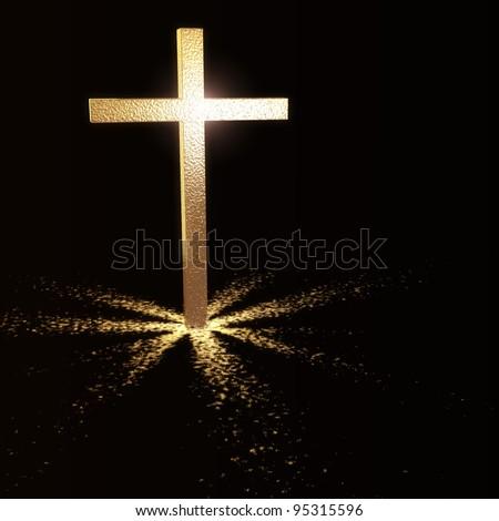 golden christian cross on dark background - stock photo