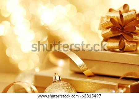 golden christmas - stock photo